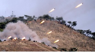 The North Korean army conducts a military exercise, according to the (North) Korean Central News Agency.