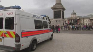 Several police vans rounded Trafalgar Square from this afternoon
