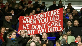 One banner accused Baroness Thatcher of 'lying' over Hillsborough