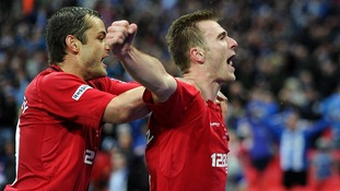 Wigan goalscorers Shaun Maloney (l) and Callum McManaman