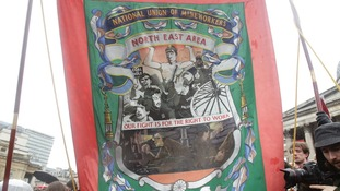 A banner for the National Union of Mineworkers, which led the 1984-85 strikes against Margaret Thatcher.