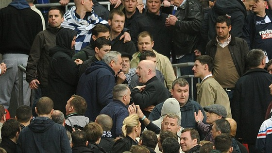 The violence at Wembley involved supporters of the same club