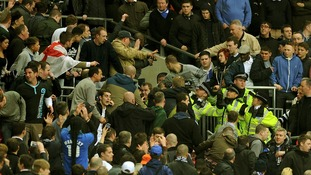 Millwall fans fought each other in the stands towards the end of the FA Cup match