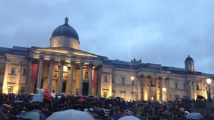 Music played at Trafalgar Square, although some protesters left the 'party' early