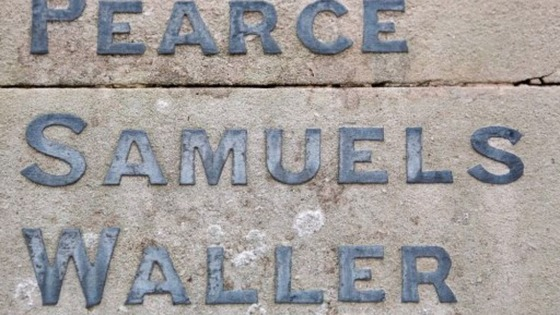The misspelt name of George Samuel on the Shepreth war memorial in Cambridgeshire.