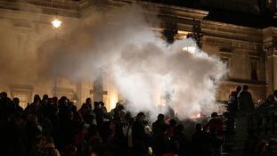 Nine people were arrested in Trafalgar Square last night.