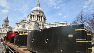 A lorry with huge steel road barriers waits close to St Paul's Cathedral ahead of Baroness Thatcher's funeral on Wednesday.