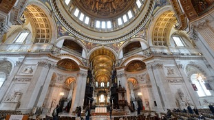 A general view of the altar inside St Paul's Cathedral, where Baroness Thatcher's funeral will take place.
