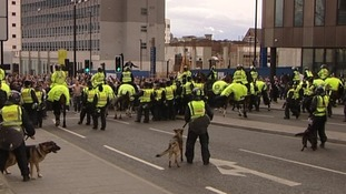 There is a strong police presence outside St. James's Park.