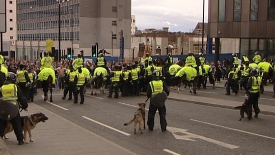 There is a strong police presence outside St. James&#x27;s Park.