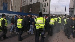 Firecrackers were thrown at police after the match between Sunderland and Newcastle.