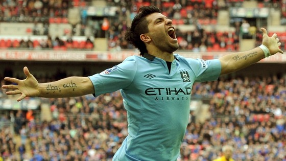 Manchester City's Sergio Aguero celebrates after scoring his team's second goal