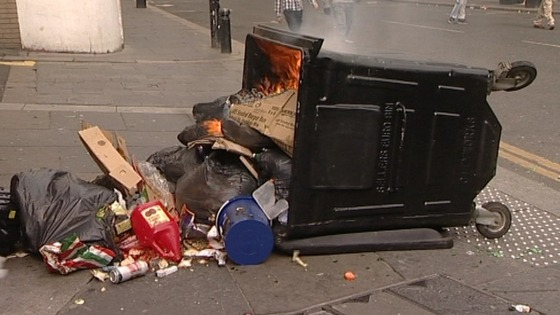 Bins were raided for missiles and some were set alight.