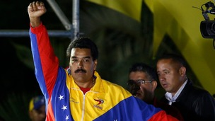 Nicolas Maduro celebrates after the official results gave him victory 