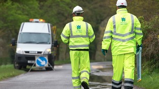 Welsh Water workers dealing with a blockage