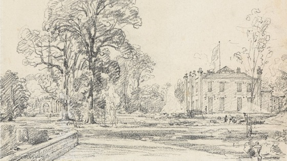 Constable&#x27;s pencil sketch of Coleorton Hall