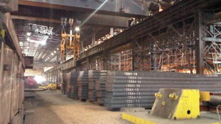 Slabs of steel made at Redcar blast furnace
