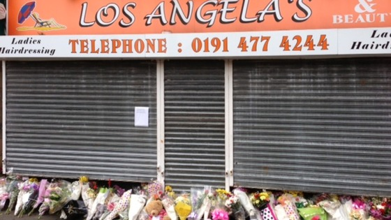 Flowers left outside Angela's hairdressers in Gateshead.