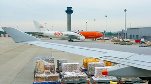 Cargo aircraft at Stansted's freight terminal