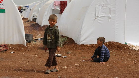 The Azaz refugee camp near the Bab Al-Salama border crossing between Turkey and Syria.