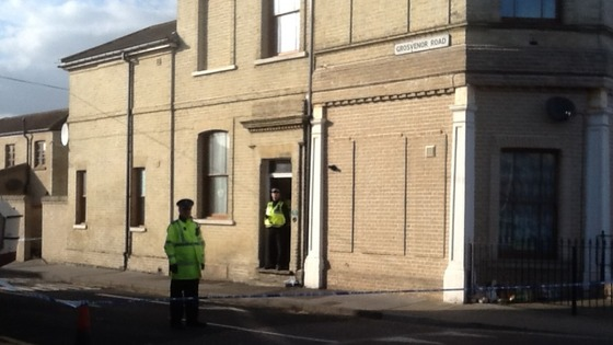 Police cordon around the house in Lowestoft, Suffolk