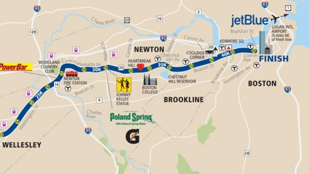 Map Of Boston Marathon Route  ITV News