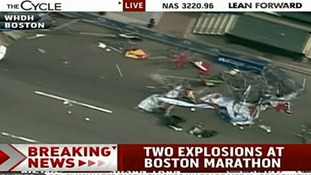 Damage can be seen at the finish line of the Boston Marathon.