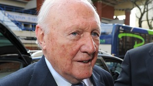 Stuart Hall pictured arriving at court earlier today.