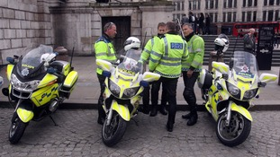 Police outside St Paul's Cathedral in London.