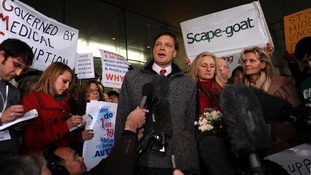 Dr Andrew Wakefield makes a speech ahead of his hearing at the General Medical Council in 2010