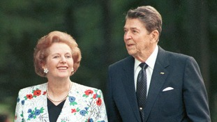 US Regan and Thatcher during the annual G7 summitt in Toronto, in June 1988.