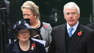 Sir John Major and Baroness Margaret Thatcher together in London in 2009.
