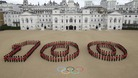 Guardsmen from the Grenadier, Coldstream, Scots and Welsh Guards mark 100 days to go at Horse Guards Parade