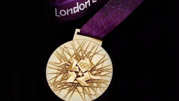 A London 2012 Olympic Games gold medal, designed by British artist David Watkin
