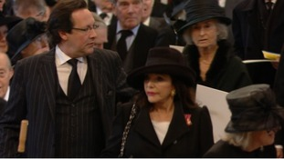 Joan Collins arrives for Margaret Thatcher's funeral at St paul's Cathedral.