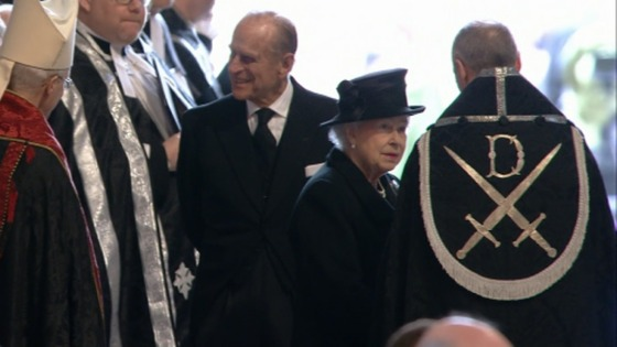 The Queen and Duke of Edinburgh arrive at St Paul's for Lady Thatcher's funeral.