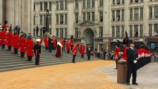 The coffin will travel from St Clement Danes to St Paul's Cathedral