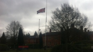 The Union flag flies at half mast in Aldershot Credit: ITV News Meridian