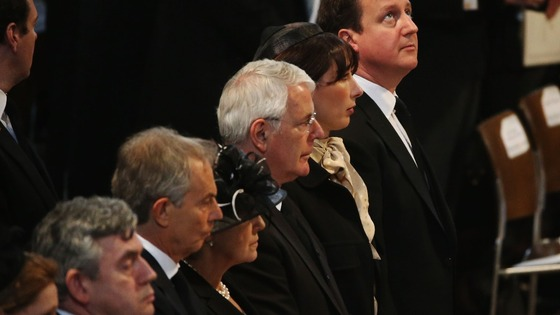 Former Prime Ministers at Margaret Thatcher&#x27;s funeral.