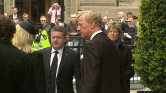Mark Thatcher and family arrive at the Guildhall.