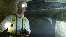 Martin Stew during his visit to London's sewer system