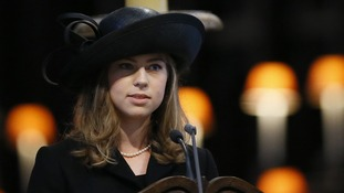 Amanda gave a reading at her grandmother Baroness Thatcher's funeral at ST Paul's Cathedral.