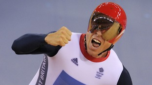 Sir Chris Hoy celebrates Gold in the team sprint final at the London 2012 Olympics.