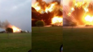 Three images captured by an amateur photographer shows the initial fire (L) and then the explosion