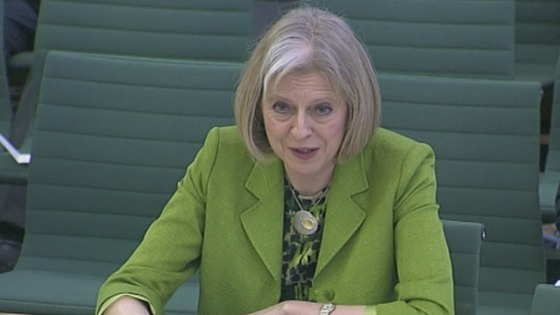 Home Secretary Theresa May gave evidence to the Home Affairs Select Committee.
