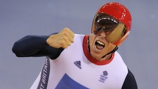 Sir Chris Hoy won gold in the team sprint final at the London 2012 Olympics