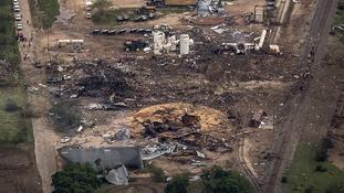 An aerial view shows the aftermath of the huge blast.