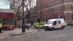 The scene on Grays Inn Road, which is still closed.