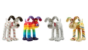 Gromit designs by Cath Kidston, Richard Williams, Simon Tofield, and Sir Paul Smith (from left to right)