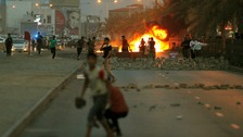 Dozens of young men skirmished with security forces west of Manama